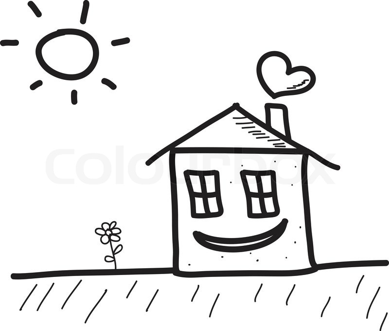 800x680 Happy Hand Drawn Sketch House With Sun And Flower Stock Vector