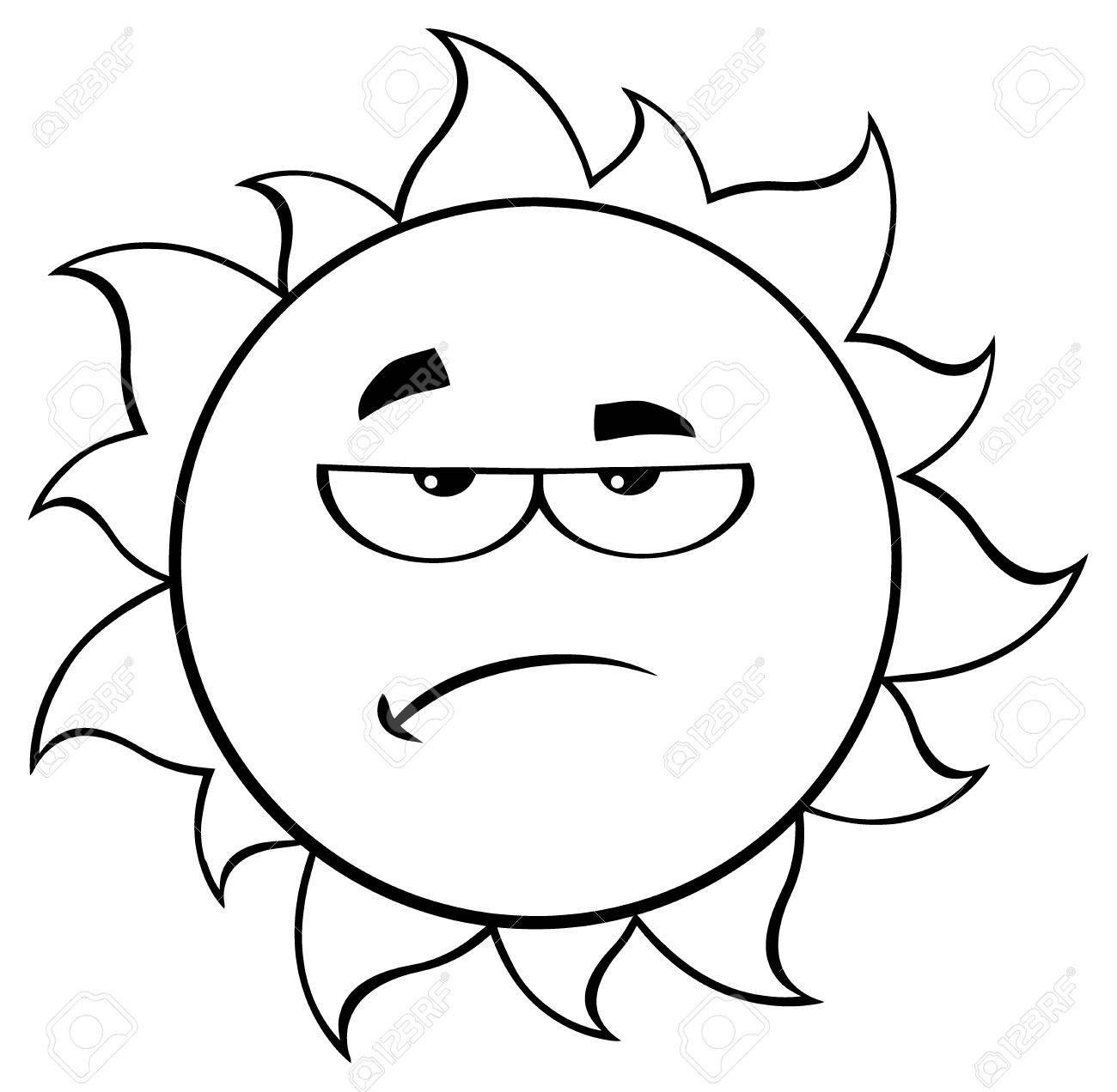 1300x1272 Black And White Grumpy Sun Cartoon Mascot Character. Illustration