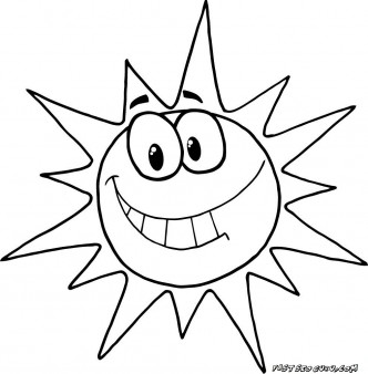 332x338 Printable Cartoon Character Smiling Sun Coloring Pages