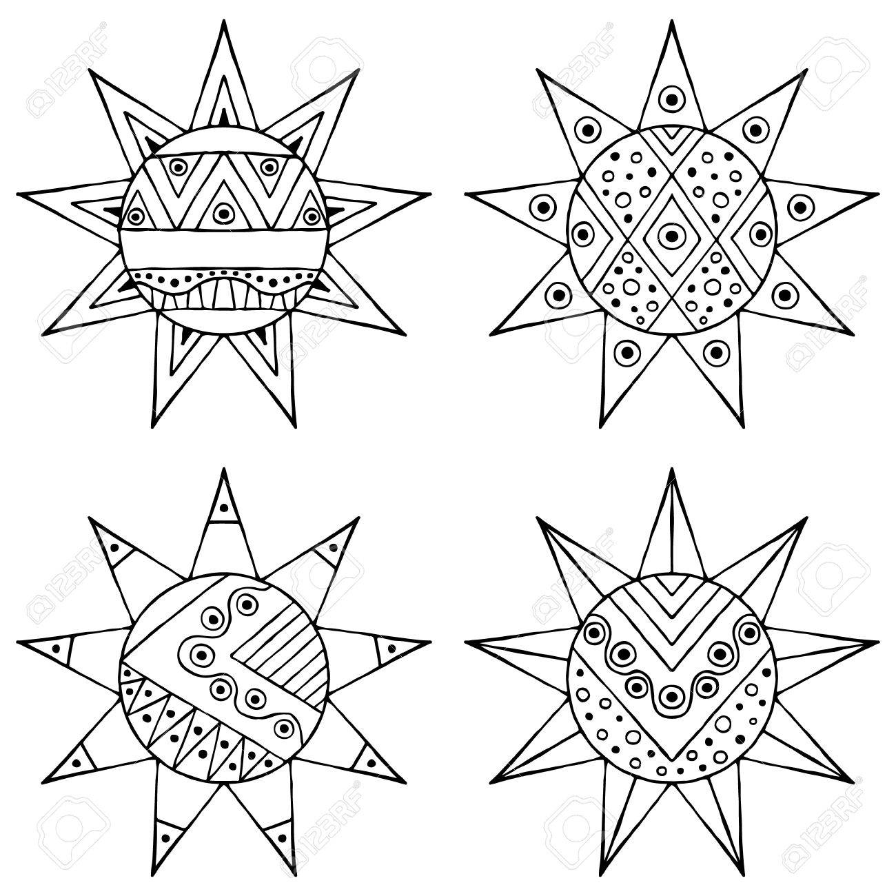 1300x1300 Set Of Vector Hand Drawn Decorative Stylized Black And White