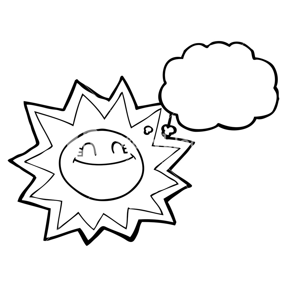 1000x1000 Happy Freehand Drawn Thought Bubble Cartoon Sun Royalty Free Stock