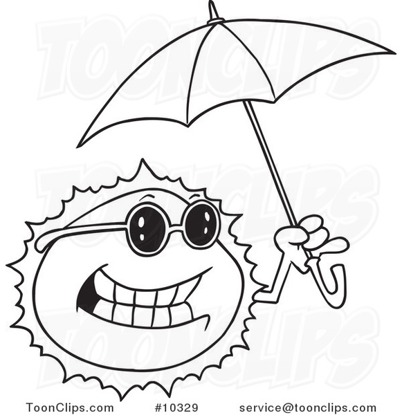 581x600 Cartoon Black And White Line Drawing Of A Sun Holding An Umbrella