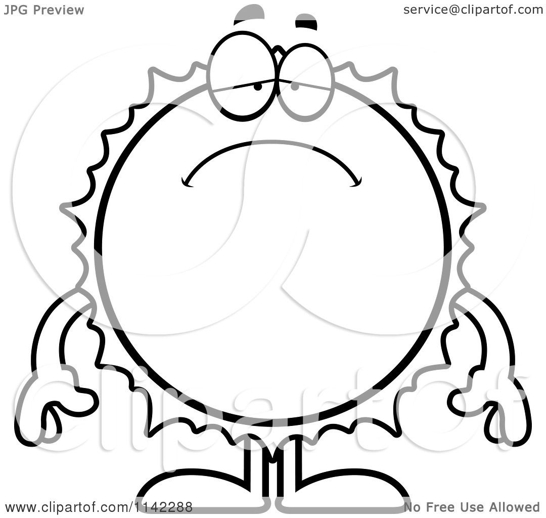 1080x1024 Cartoon Clipart Of A Black And White Depressed Sun