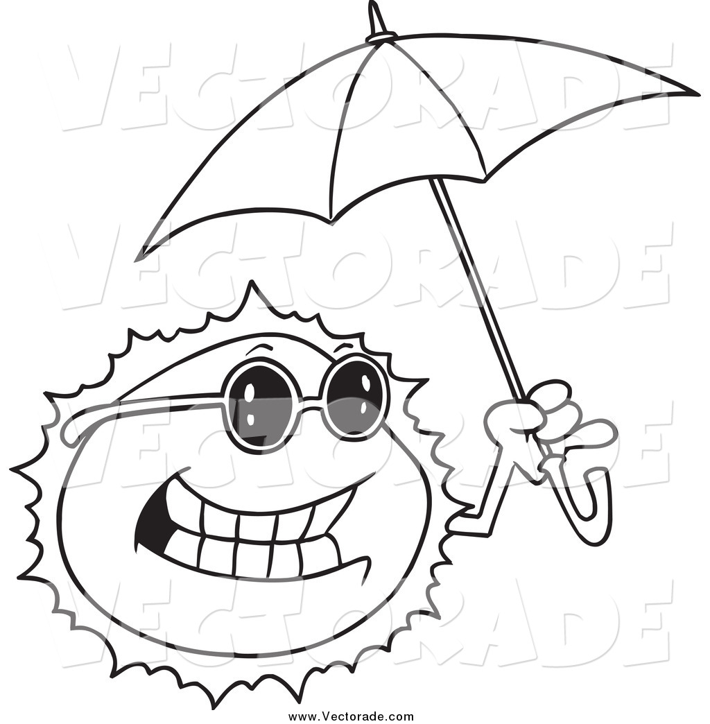 1024x1044 Vector Of A Black And White Happy Sun Holding An Umbrella By