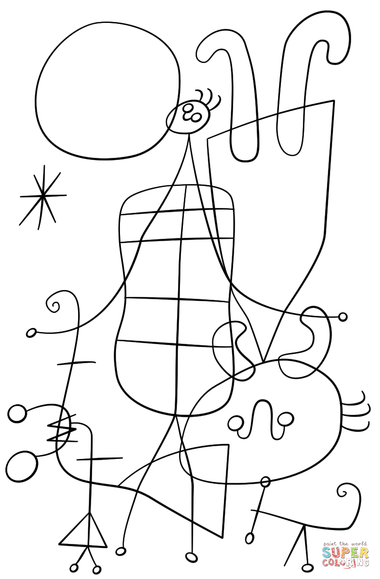 779x1186 Figures And Dog In Front Of The Sun By Joan Miro Coloring Page