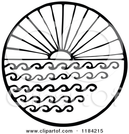 450x470 Clipart Of A Black And White Sun And Sea Circle