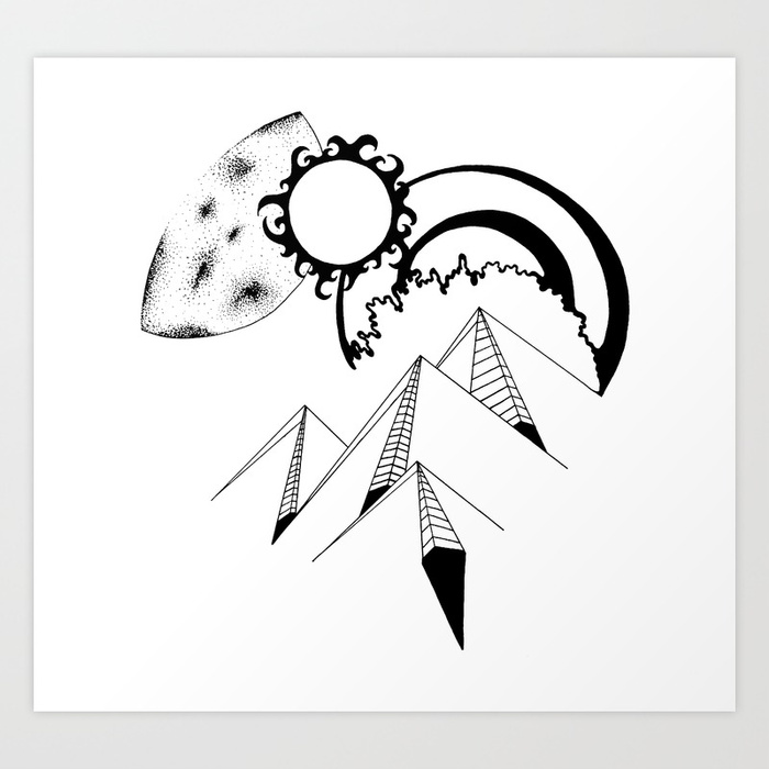 700x700 Wanderlust Pen And Ink Drawing Mountains, Moon, Sun, Ocean Waves
