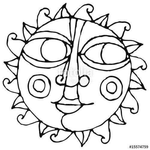 500x500 Big Eye Sun Simple Hand Drawing Black White Stock Image