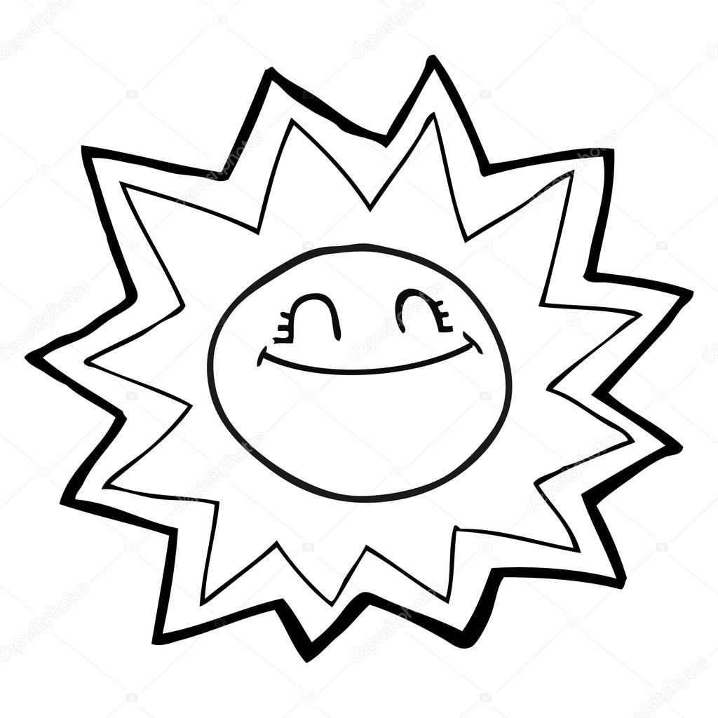 1024x1024 Happy Black And White Cartoon Sun Stock Vector Lineartestpilot