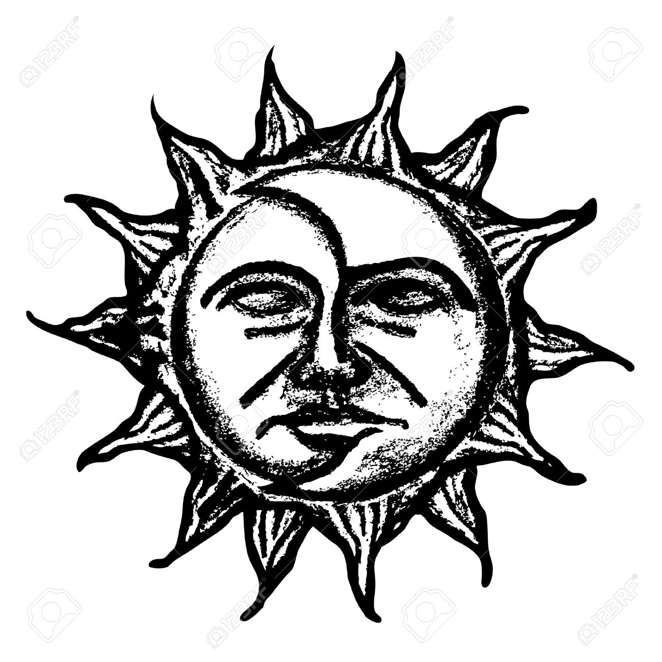 1300x1300 Black And White Sun And Moon Face Sketch Royalty Free Cliparts