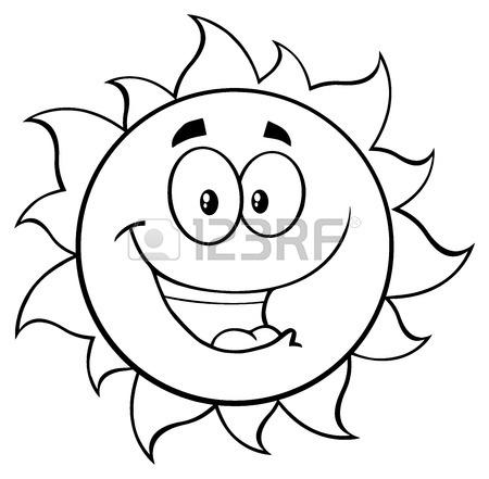 450x441 Black And White Winking Sun Cartoon Mascot Character. Stock Photo