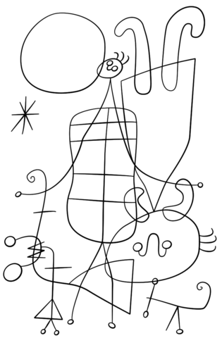 315x480 Figures And Dog In Front Of The Sun By Joan Miro Coloring Page