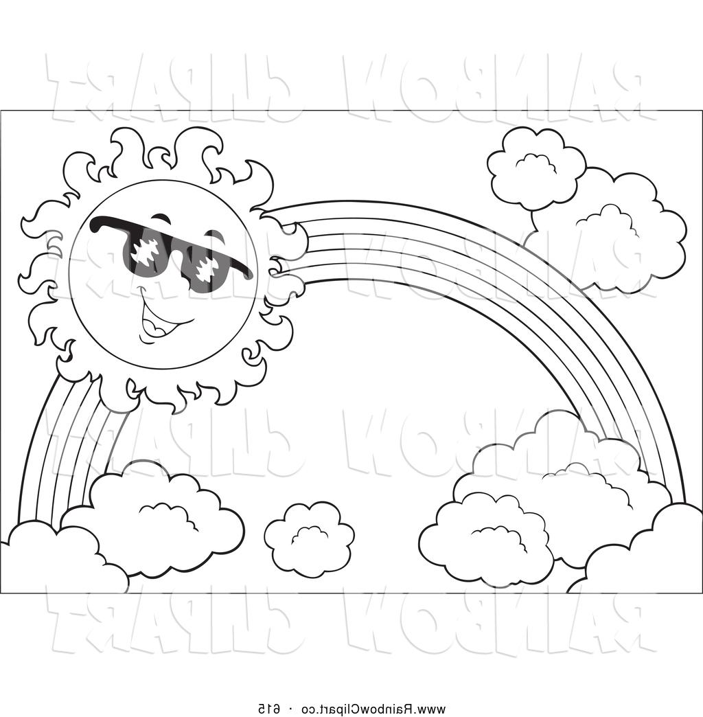 1024x1044 Hd Vector Clip Art Of Black And White Sun Rainbow By Visekart Drawing