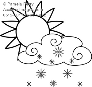 300x286 Art Image Of A Sun With Snowflakes Falling From A Cloud Coloring Page