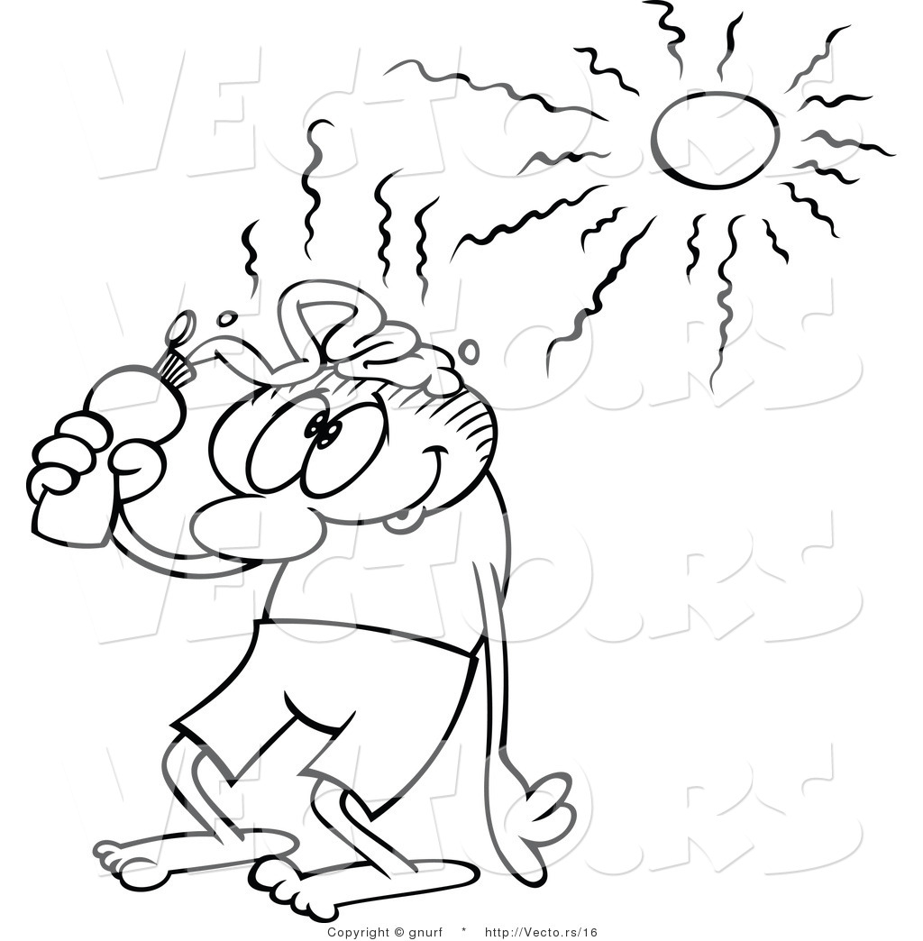 1024x1044 Vector Line Drawing Of A Caroon Guy Putting Sun Block On His Head