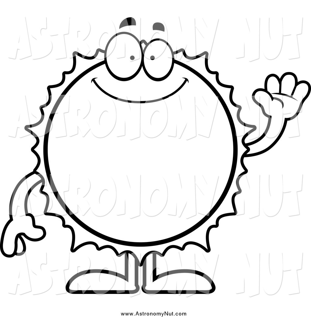1024x1044 Clipart Of A Black And White Friendly Waving Sun By Cory Thoman