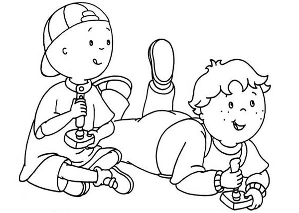 600x428 Coloring Games To Play Caillou And Leo Play Video Games Coloring