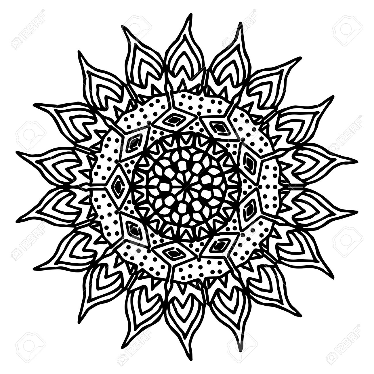 1300x1300 Sun Hand Drawing Doodling Mandala Coloring Page Isolated Royalty