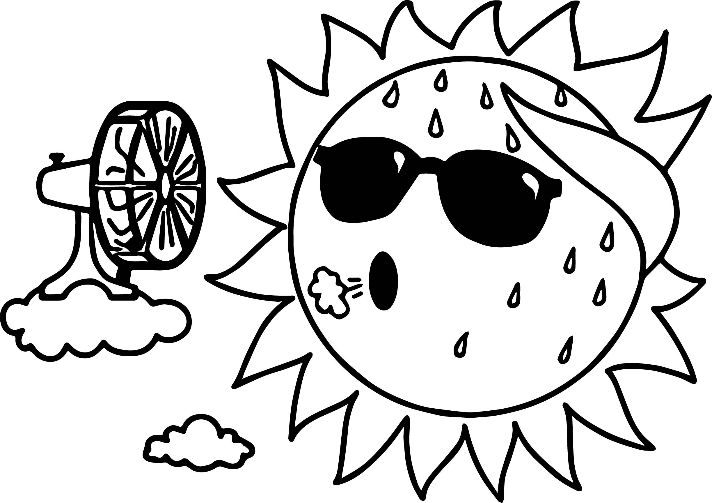 2447x1727 Summer Coloring Pages With Sun For Kids Awesome Too Hot Summer Sun