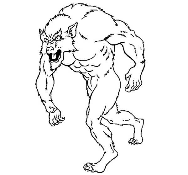 600x558 Kids Drawing Of Werewolf Coloring Page Coloring Sun