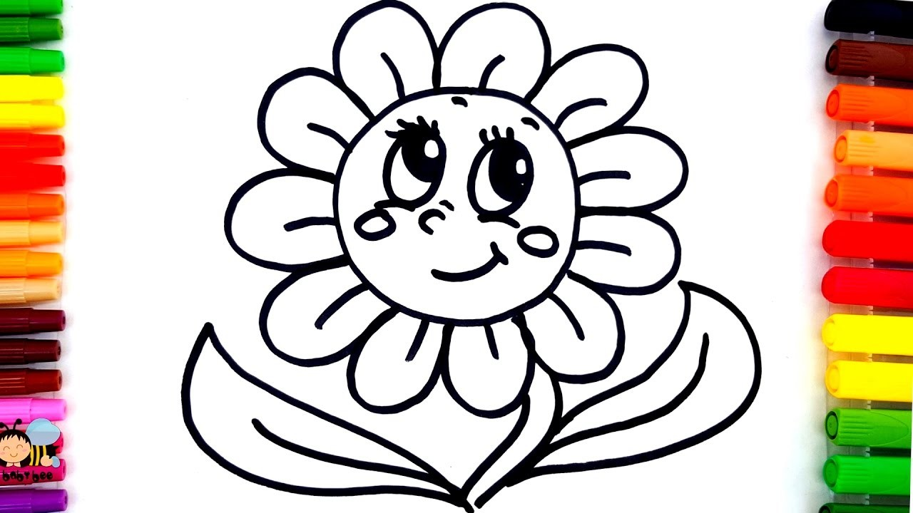 1280x720 Learn Colors For Children With Coloring Pages Sun Flower