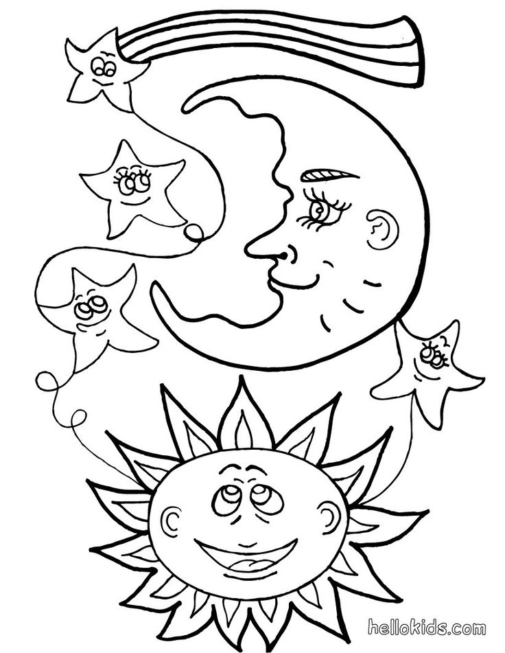 Sun Moon And Stars Drawing