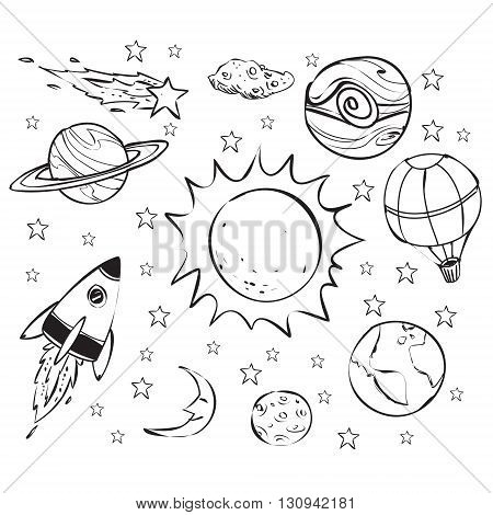 450x470 Space Theme Doodle Planet Earth Vector Amp Photo Bigstock