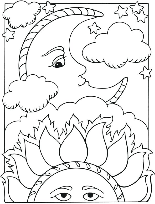 650x853 Moon And Stars Coloring Pages Genesisar.co