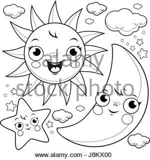 300x321 Coloring Book Illustration With Half Moon And Stars In The Night