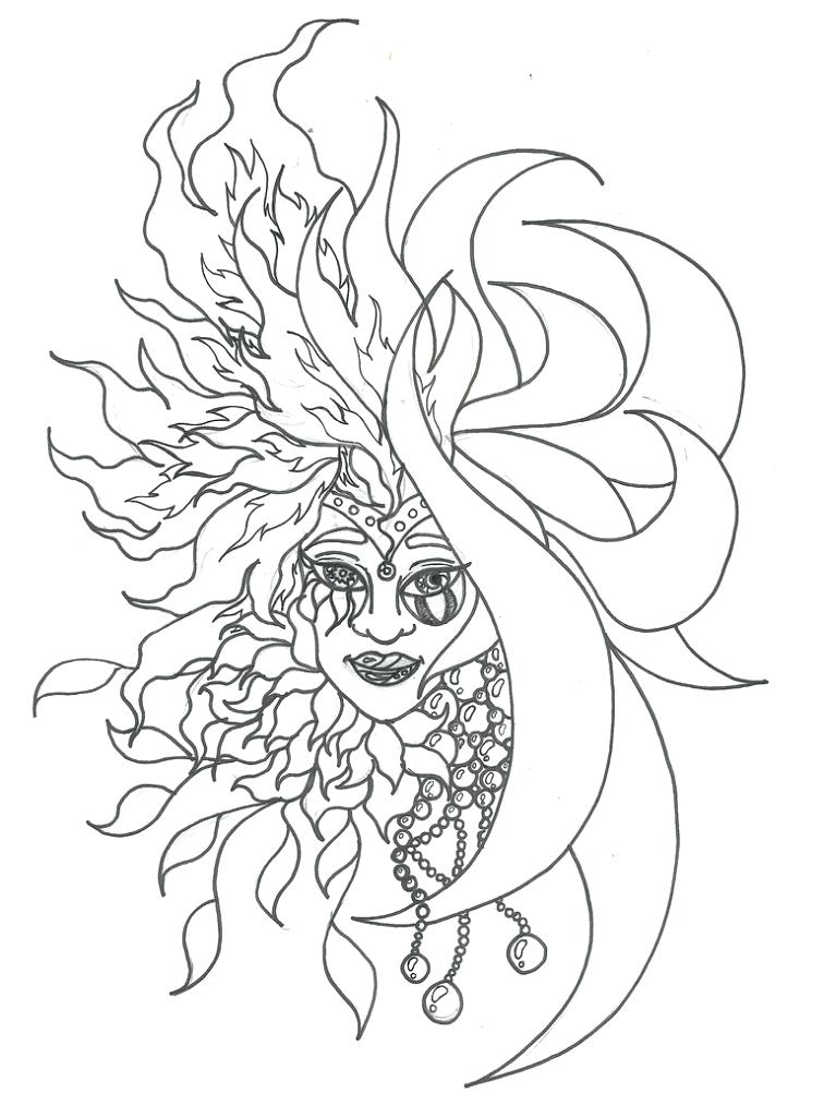 756x1024 Free Sun And Moon Coloring Pages Drawing G Best Coloring Disney Book