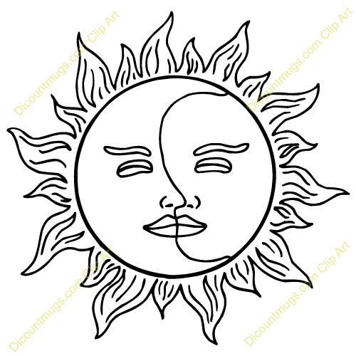 500x500 Sun And Moon Clip Art Sun, Moon