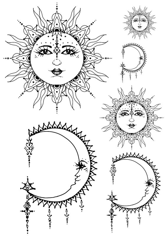 570x799 Sun And Moon Customed Tribal Culture Tattoo Art By Lovetatoo
