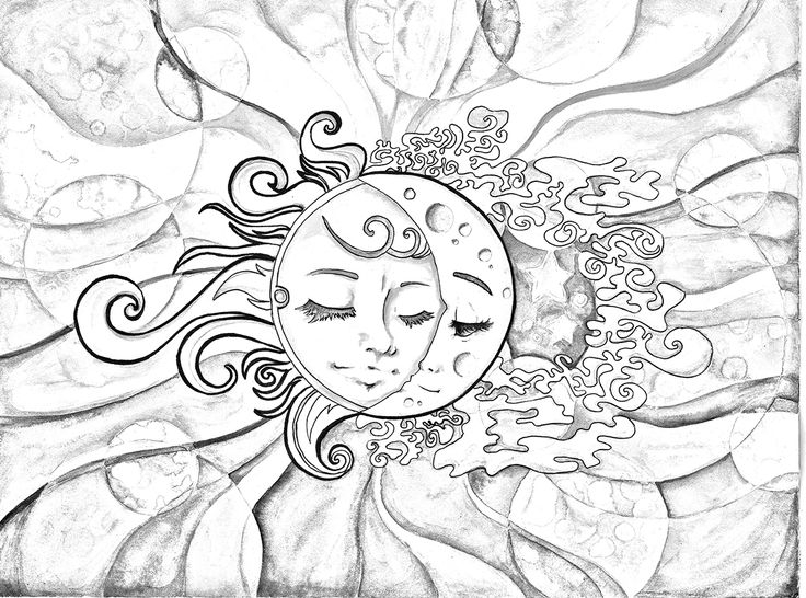 736x546 Sun Moon Adult Coloring Pages Printable