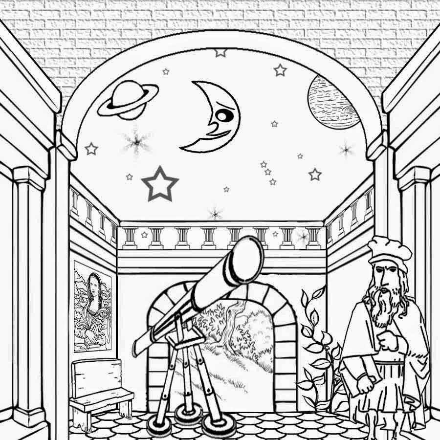 900x900 Drawn Moon Galileo Telescope