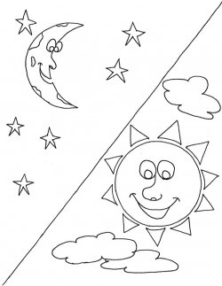250x323 Sun And Moon Coloring Pages The Sun Moon Stars And Cloud