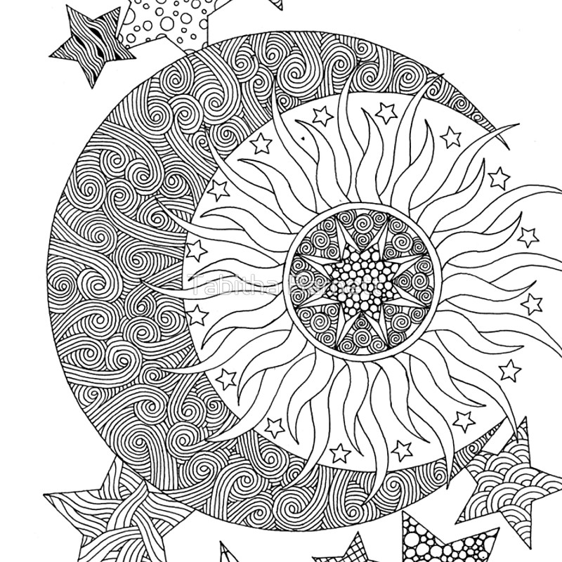 800x800 Tangled Sun, Moon, Stars Coloring Pages For Adults