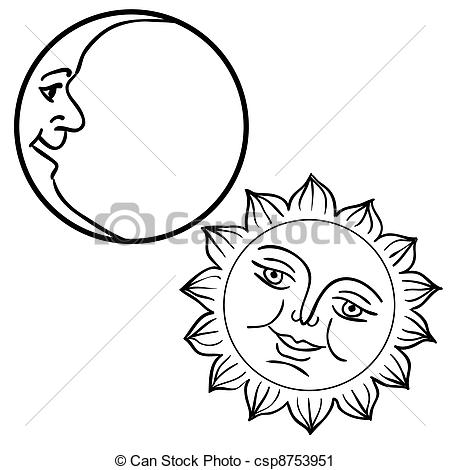 450x470 Vector Illustration Of Moon And Sun With Faces