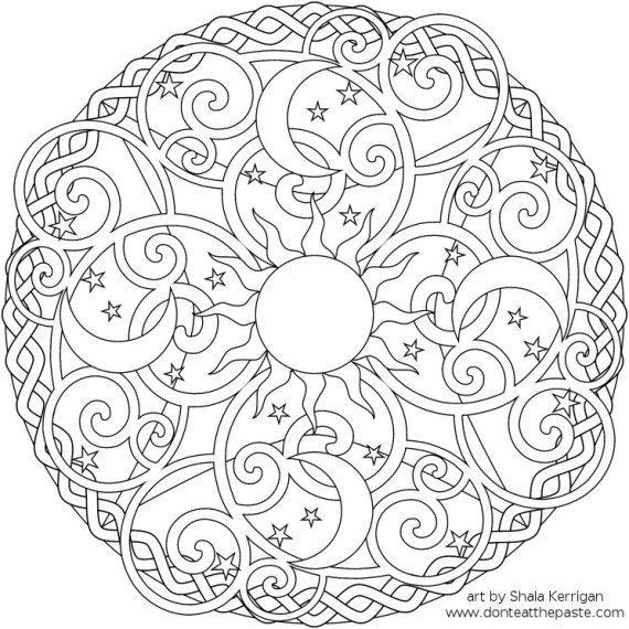 570x570 Sun, Moon Amp Stars Mandala Coloring Page From The Don Coloring