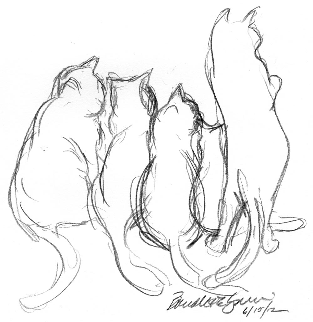 1000x1029 Daily Sketch A Tangle Of Cats