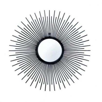420x420 Wholesale Black Wrought Iron Bursting Sun Wall Mirror Modern Iron