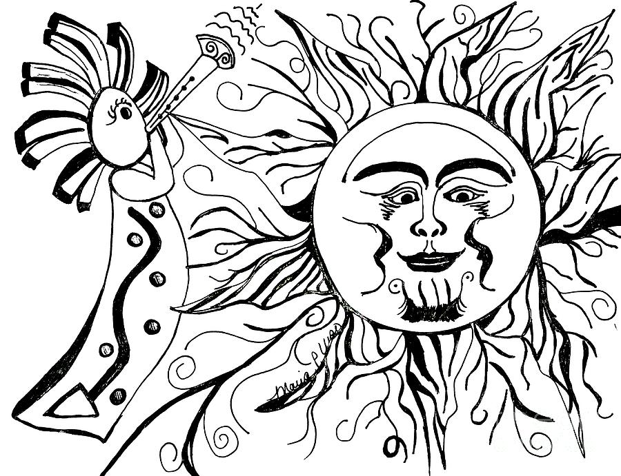 900x691 Musical Sunrise Drawing By Maria Urso