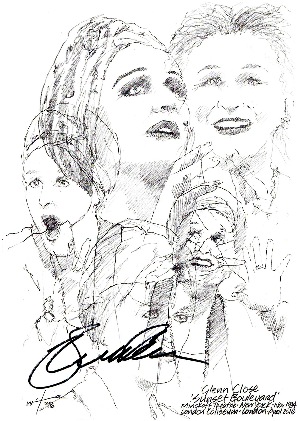 1000x1415 Drawing Glenn Close In Sunset Boulevard Chicanepictures