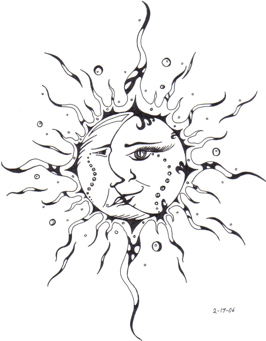 900x1154 Sun And Moon Tattoo By Miss Swamp Spider