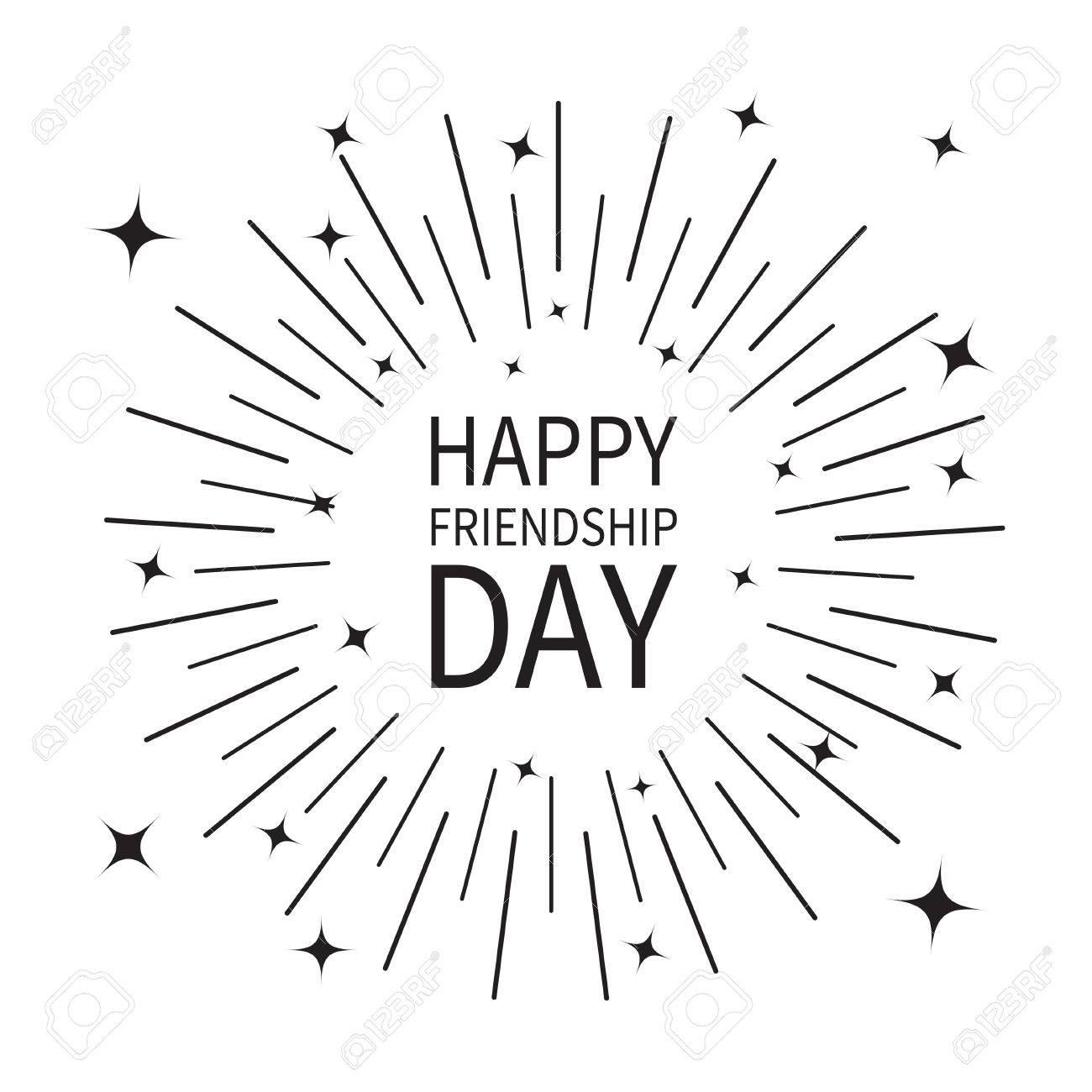 1300x1300 Happy Friendship Day. Sunburst Round Black Line Circle. Shining