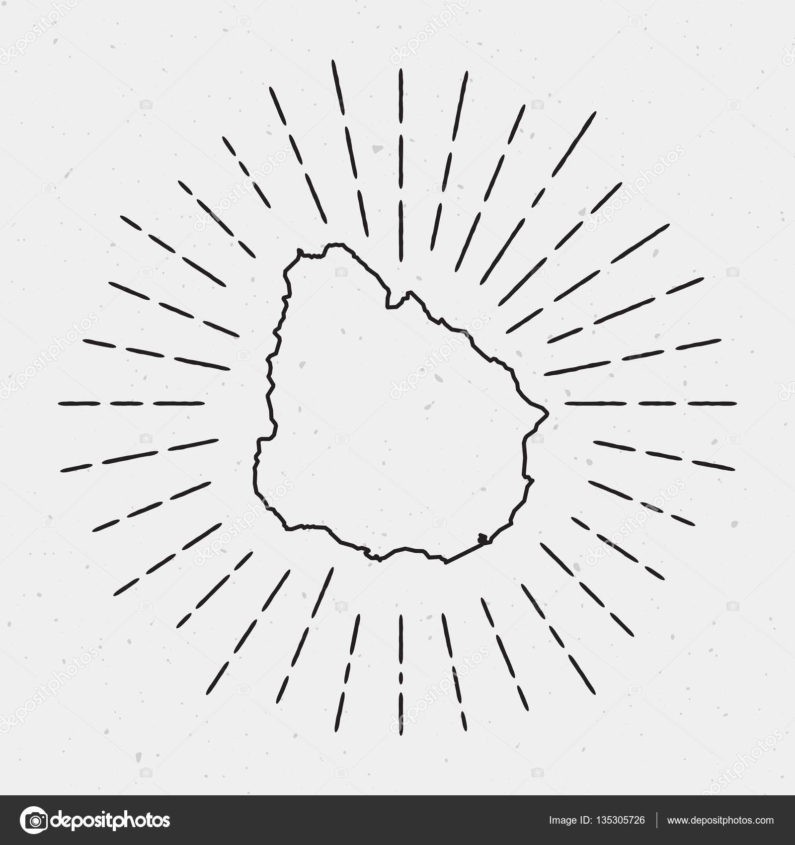 1600x1700 Retro Sunburst Hipster Design Uruguay Map Surrounded By Vintage