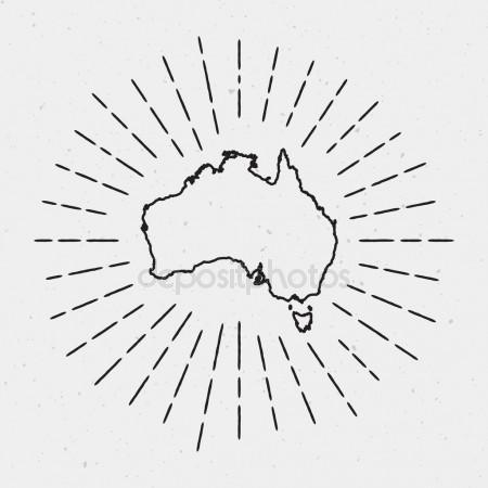 450x450 Vector Australia Map Outline With Retro Sunburst Border Hand Drawn