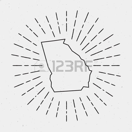450x450 Vector Georgia Map Outline With Retro Sunburst Border. Hand Drawn