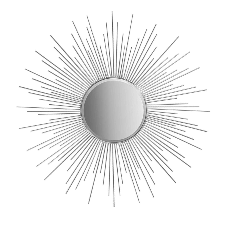 1500x1500 Decorshore 36 Silver Sunburst Circular Mirror, Metal Mirror