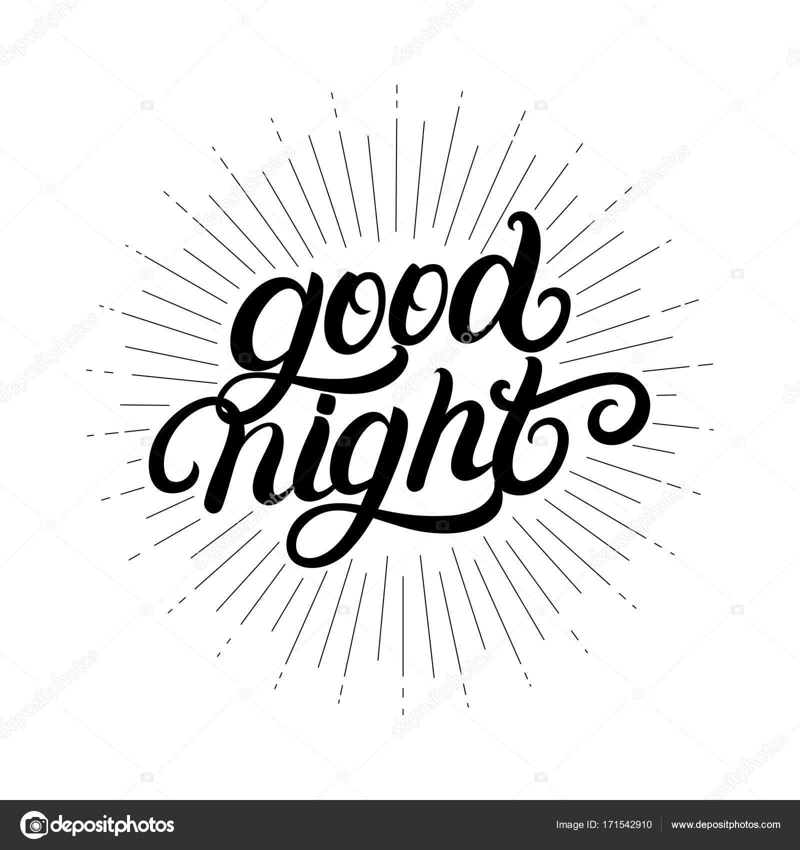 1600x1700 Good Night Hand Written Lettering With Light Rays, Sunburst