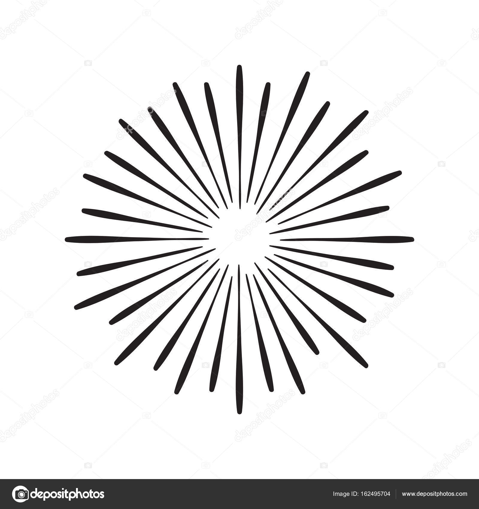 1600x1700 Hand Drawn Vintage Sunburst Stock Vector Thynose